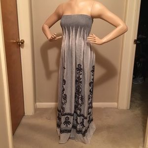 Lapis long dress with tube top.
